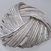 Triangular Silver Metal Swirled Brooch