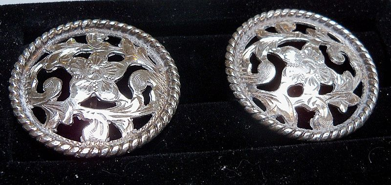 Large Sterling Floral Motif Cufflinks