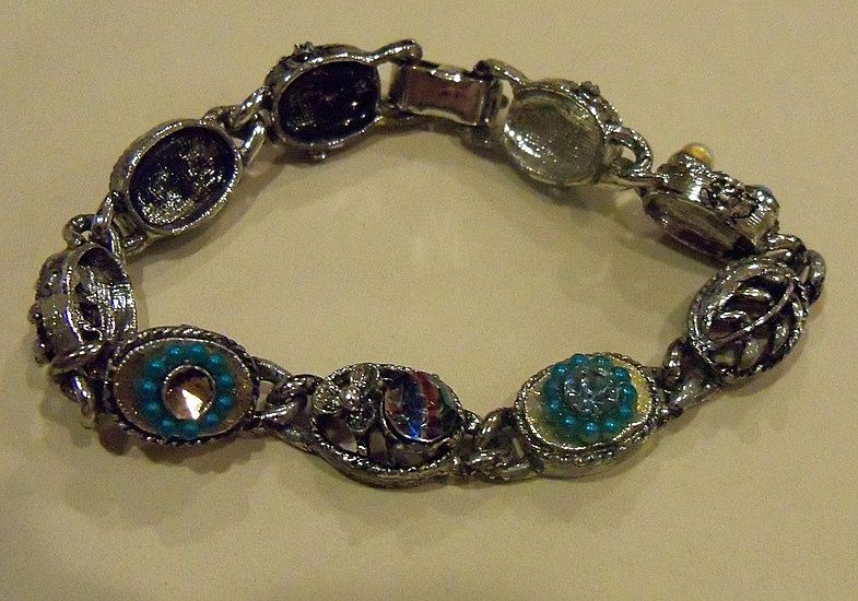 Unusual Silver Metal Bracelet with Assorted Stones