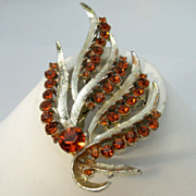 Fronds of Silver Metal with Orange Rhinestone Brooch