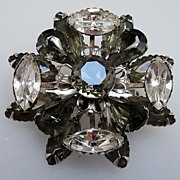 Black and Clear Prong Set  Rhinestone Brooch