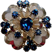 Beautiful Gold Metal Circular Brooch with Blue Rhinestones