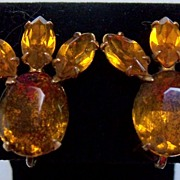 Amber Rhinestones Screw On Earrings