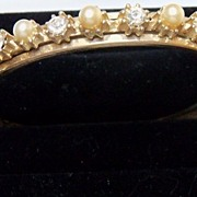 Hinged Gold Metal Bracelet with Clear Rhinestones and Imitation Pearls