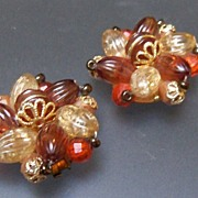 Beads of Orange and Brown Clip on Earrings