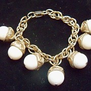 Dangling White and Gold Metal Acorns on Links Bracelet