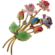 Bouquet of Enamelled Flowers Brooch