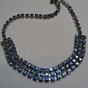 Three Row Pale Blue Rhinestone Necklace