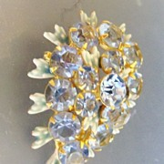 Blue Rhinestone and Enamelled Leaf Brooch