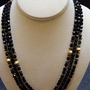 Black Glass and Gold Metal Beads Necklace