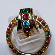 Circular Brooch of Mixed Colored Rhinestones