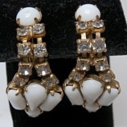 Drop Earrings of White Plastic and Clear Rhinestones