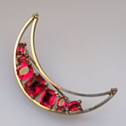 Crescent Moon Shaped Brooch with Red Rhinestones