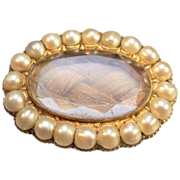 Mourning Hair Brooch Decorated  with Pearls