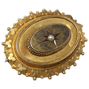 Victorian Hair Brooch  with Tiny Seed Pearl in Center