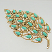 Fallen Leaf  Brooch of Gold Metal and Turquoise Color Stones