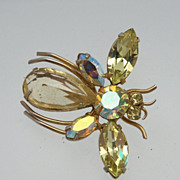 Bumble Bee of Aurora Borealis Brooch