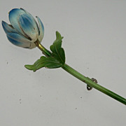 Blue Enameled Single Bud Flower Brooch
