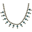 Necklace of Clear and Turquoise Rhinestones