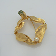 Gold Metal Brooch with Leaf Design and Imitation Pearl and Polished  Rock