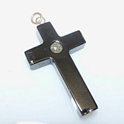 Black Crucifix with tiny rhinestone in center