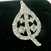 Rhinestone Figural Leaf Brooch