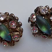 Teal Earrings Surrounded by Rhinestones