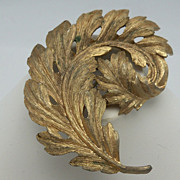 Antique Gold Finish Plumed Feather Brooch