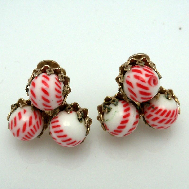 Three Red and White striped glass balls earrings