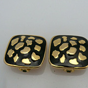 Square Black Enamel with Gold Accents Earrings