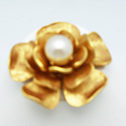 Craft Gold Metal Flower Brooch with Large Faux Pearl