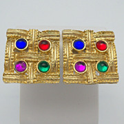 Square Gold Metal Clip On Earrings with Cabochon Rhinestones