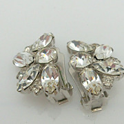 Pair of clip on clear rhinestone earrings