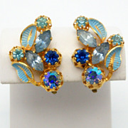 Austrian Earrings with Enamel and Aurora Borealis Stones