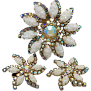 Floral Brooch Set with Aurora Borealis Stones and White petals