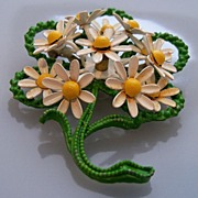 Enamel Painted Metal Brooch of Daisies