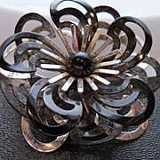 Metallic Black and Silver Painted Modernistic Floral Brooch
