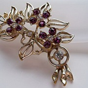 Amethyst and clear rhinestones floral brooch
