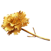 Figural Open Flower Gold Tone Brooch