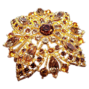 Exquisite Gold Tone Metal Brooch with Topaz  Rhinestones