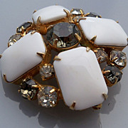 Brooch with White Glass, Clear and Smokey Rhinestones