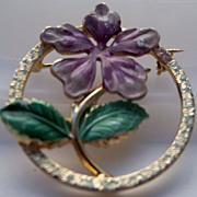 Circular Brooch with Enamel Purple Flower