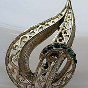 Openwork Leaf Brooch Highlighted Tiny Green Stones