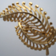 Brooch of Gold Metal with Gentle Fern Design