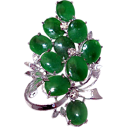 Abstract Brooch with Green Glass Stones