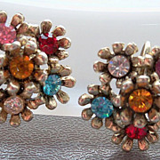 Multi Color Rhinestone Earrings in gold metal setting