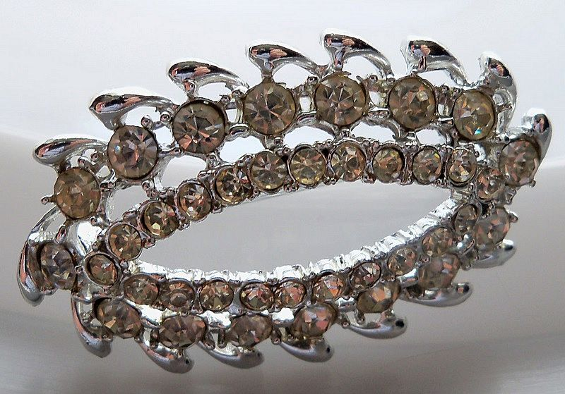 Oval Multi Shaped Clear Rhinestone Brooch