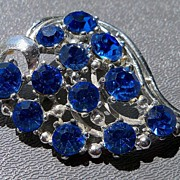 Abstract Heart Shape with Blue Rhinestones Brooch