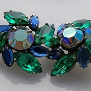 Kramer Dark Blue and Green Swirling Rhinestone Earrings