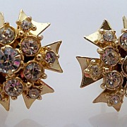 Dome Shape Gold Metal with Clear Rhinestones Earrings